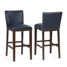 Toledo Wood and Faux leather Bar Stools  Set of 2  by Greyson living  Retail 239 61 navy blue