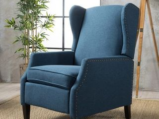 Navy Blue   Dark Brown Wescott Contemporary Fabric Recliner by Christopher Knight Home
