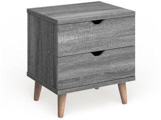 Carson Carrington Gjovik Contemporary Distressed Grey 2 drawer Nightstand  Retail 142 49