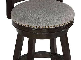 Counter Height 23 28 in  Cortesi Home Ferne Solid Wood Swivel Barstool  Gray Fabric Retail  129 99