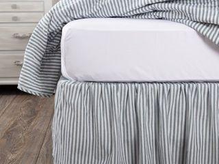 Denim Blue Soft White Queen Sawyer Mill Ticking Stripe Bed Skirt