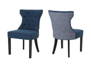 navy blue and blue textured Mircea Traditional Two Toned Fabric Dining Chair by Christopher Knight Home Retail  249 75