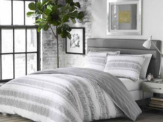 White Grey Queen Full 3 Piece Carbon loft Joyner Duvet Set Retail  79 98