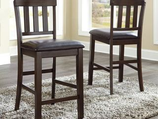 Haddigan Upholstered Counter Height Barstool Dark Brown   Signature Design by Ashley