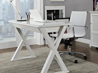 White  48 inch White X Frame Computer Desk with Glass Top  Retail 339 99