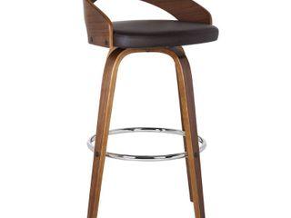 Carson Carrington Solavagen Walnut Upholstered Wood Barstool  Retail 129 49