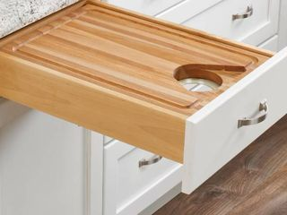 Brown 18 in Face Frame Cut Out Cutting Board Drawer