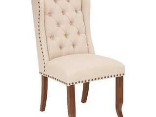 Jessica Tufted Wing Chair in linen Fabric with Bronze Nailheads and Coffee legs K D