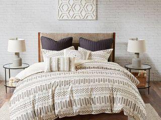 3pc King California King Rhea Cotton Comforter Mini Set Ivory Charcoal