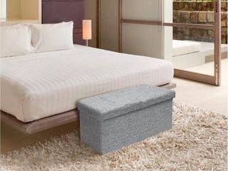 Storage Ottoman Bench 30 Inch Smart lift Top  light Grey   Crown Comfort