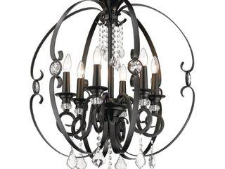 Matte Black Ella 6 light Chandelier  Retail 424 99