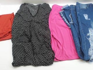 lot of mixed womans clothes