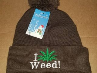 Pot Weed Marijuana Embroidered Stocking Hat