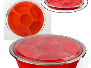 Appetizer Serving Tray and Collapsible Party Platter with lid   BPA Free