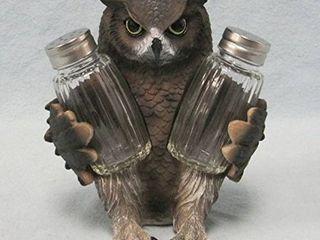 Wise Owl Figurine Salt and Pepper Shaker Holder