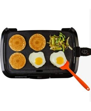 Ovente Electric Griddle  Temperature Probe and Control Knob  Indicator light and Drip Tray