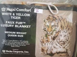 White Yellow Tiger Medium Weight Faux FurTM Blanket