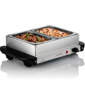 Ovente Electric Buffet Server Two Sectional Stainless Steel Food Warmer Tray  Heated Removable Warming Frame and Adjustable Warming Dial for Indoor or Outdoor Use  Silver  FW152S