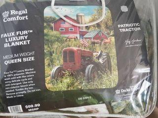 Country Patriotic Farm Tractor Queen Medium Weight Bed Blanket