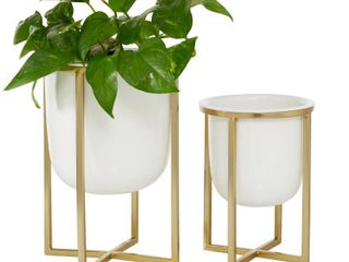 Round White Planter With Gold Metal Base Set Of 2  Missing One White Bowl  Retail 77 48