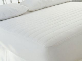 White 250 Thread Count Fitted Queen Mattress Pad
