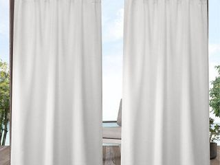 ATI Home Indoor Outdoor Solid Cabana Tab Top Window Curtain Panel Pair