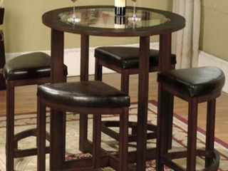 Rounding Furniture Cylina Solid Wood Glass Top Round Counter Height Table No Stools