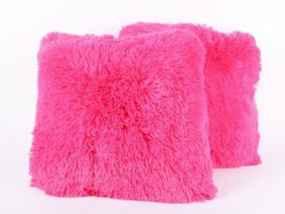 Faux Fur 18 Inch Decorative Throw Pillows  Set of 2