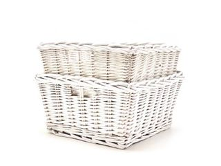 Nested White Wicker Baskets  Set of 2  by Handcrafted 4 Home