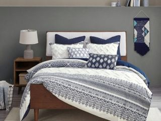 The Curated Nomad Natoma Navy Cotton Chenille Printed Full Queen Comforter Set  Retail 109 99