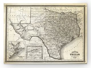 Vintage Map Texas I   Premium Gallery Wrapped Canvas