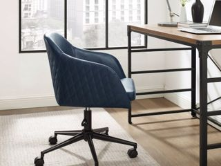Carson Carrington Quilted Upholstered Swivel Office Chair  Navy  Retail 208 49
