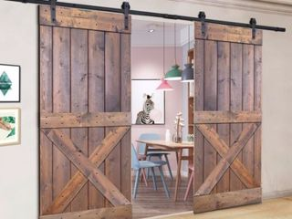Paneled Wood Painted Double Barn Door DX Series  Set of 2  Door Assembly Required  Retail 818 49