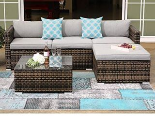 COSIEST 5 Piece Outdoor Furniture Wicker Sectional Sofa With Cushions  Retail 875 99