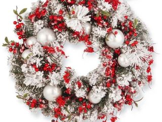 24in  Red White Artificial Ornament Christmas Wreath