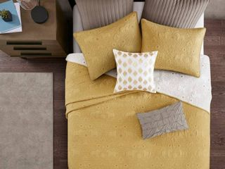 INK IVY Kandula Yellow Cotton Reversible 3 piece Full Queen Coverlet Set  Retail 104 89