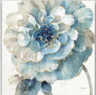 Designart  Indigold Gold Country Flower  Cottage Country Canvas  Set of 2  Artwork Print   Blue