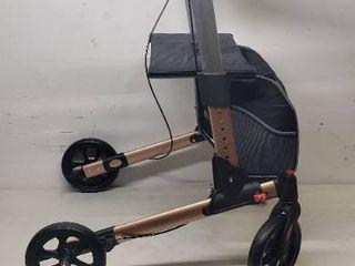 Planetwalk Premium Rollator Walker   Foldable Rolling Walker with Seat   Bag   Soft Wheels Comfort Design   Gift for Senior  Rose Gold