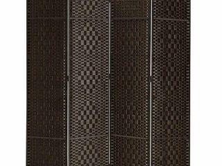 MyGift 4 Panel Freestanding Grey Bamboo Woven Folding Room Divider