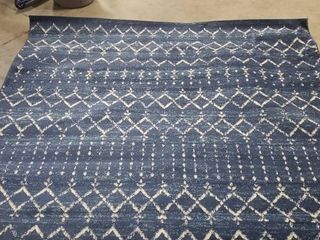 Moroccan Hype Blue White 8  x 10  Area Rug