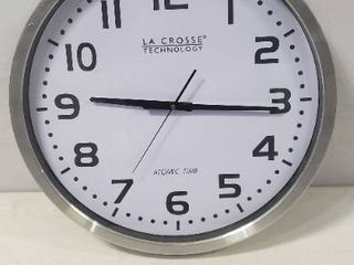la Crosse Atomic  Analog  Wall Mounted Clock  20in Diameter And 2 5in Thick