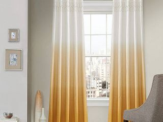 lot Of 2  95 x52  Arashi Ombre Embroidery light Filtering Curtain Panel Gold   Vue