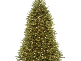 National Tree Company Artificial Christmas Tree  Hinged Branches  Pre strung White lights   Stand   Dunhill FIR   6 ft