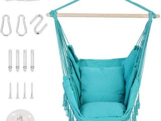 Patio Watcher Oversized Hammock Chair Hanging Rope Swing Seat with 2 Cushions and Hardware Kits  Blue