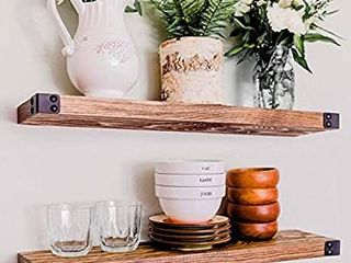 WG WIllOW   GRACE DESIGNS Floating Shelves  Wall Mounted  Modern Rustic All Wood Wall Shelves  Set of 2 for Bedroom  Bathroom  Family Room  Kitchen with Decorative Iron End Cap   24 x 6 x 1 5 in