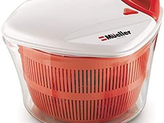 MUEllER large 5l Salad Spinner Vegetable Washer with Bowl  Anti Wobble Tech  lockable Colander Basket and Smart lock lid   lettuce Washer and Dryer   Easy Water Drain System and Compact Storage