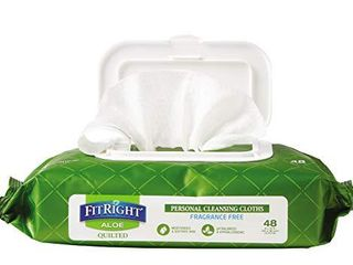 FitRight Aloe Quilted Heavyweight Personal Cleansing Cloth Wipes  Unscented  576 Count  8 x 12 inch Adult large Incontinence Wipes