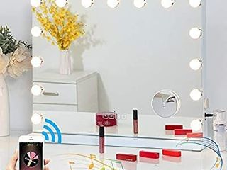 Fenair Makeup Mirror with lights and Bluetooth Speaker Support Answer Call Hollywood Vanity Mirror  Touch Screen  3 Color Modes Frameless Tabletop Mirror with 15 Dimmable Bulbs  White