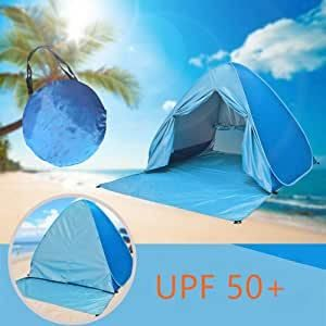 AIYIDUO Beach Tent Sun Shelter Pop Up Anti UV Outdoor Baby Beach Tent Cabana Sun Umbrella with Carry Bag Portable Outdoor Beach Shade for 2 3 Person Green