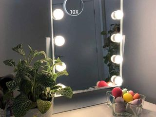 Hansong large Hollywood Makeup Vanity Mirror with lights Plug in light up Professional Mirror with Storage Removable 10x Magnification 3 Color lighting Modes  Cosmetic Mirror with 12 Dimmable Bulbs